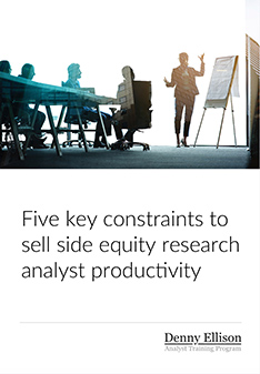 Five key constraints to sell side equity research analyst productivity